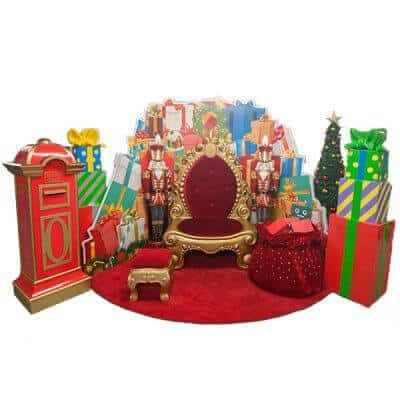 Santa set with mailbox, santa throne, foot stool, velvet Santa sack, present stack, present box backdrop