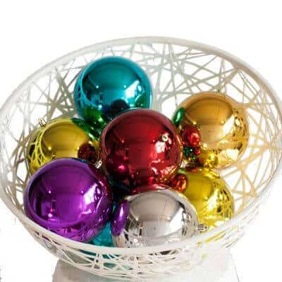 Basket filled with various coloured UV baubles