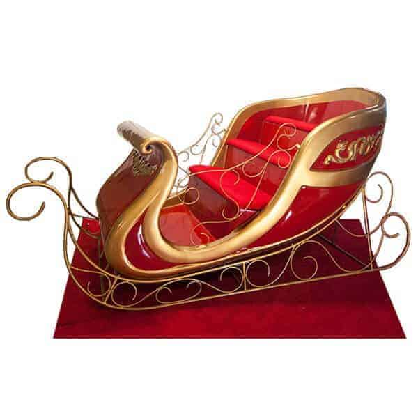 3 tiered red and gold Santa sleigh