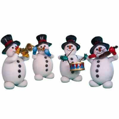 Four snowmen playing instruments
