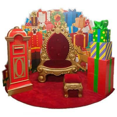 5 piece Santa set with mailbox. golden throne, stool, present backdrop and present stack on red carpet