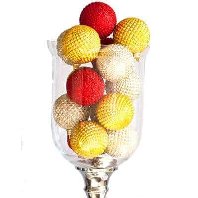 Clear vase of various coloured Durian Balls