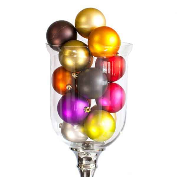 Clear vase of matt christmas baubles