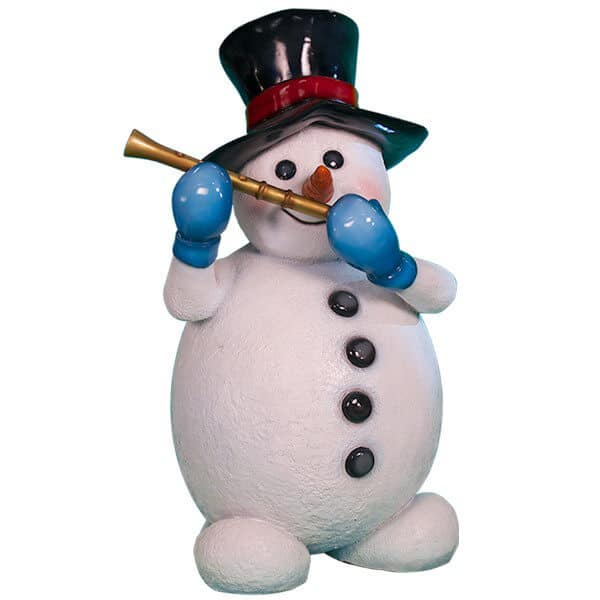 Snowman prop playing flute