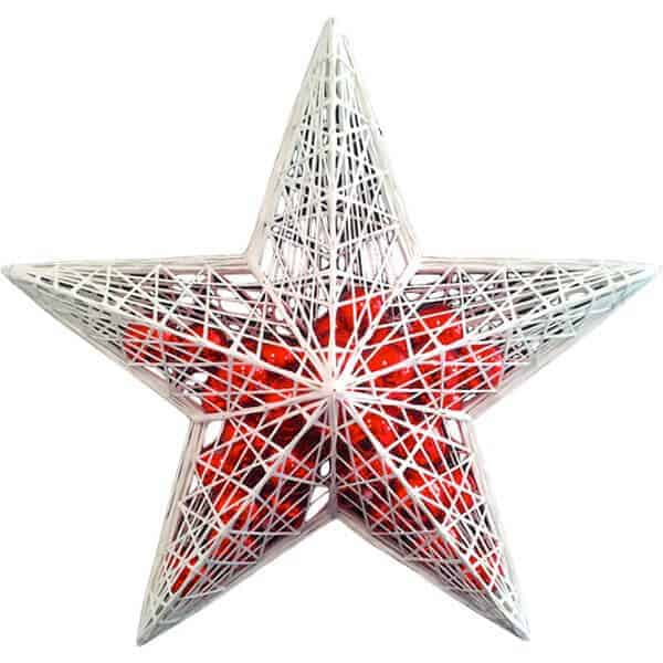 White Masson star filled with red baubles
