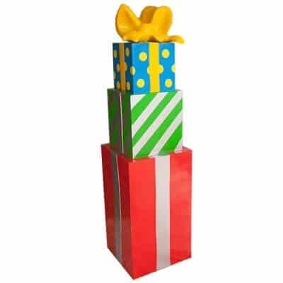Santa set prop of stack of bright coloured Christmas presents