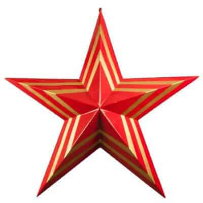 Large scale red and gold Christmas star
