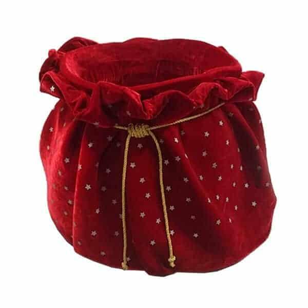 Red velvet Santa present sack prop