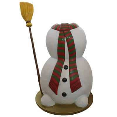 Snowman selfie prop with red scarf and broom