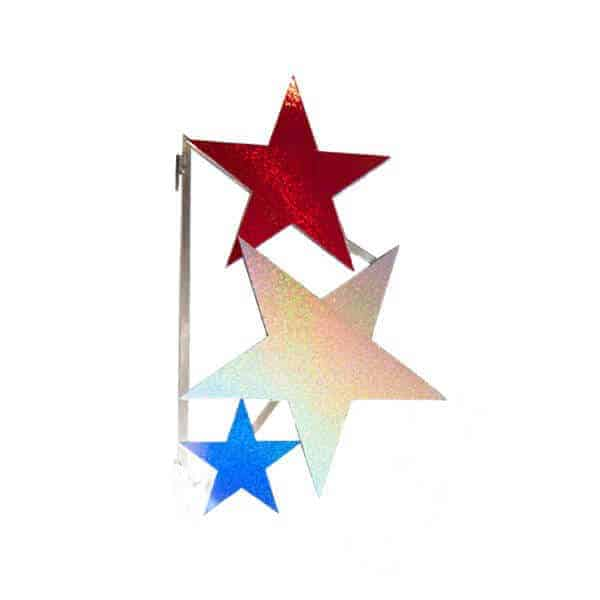 Three star holographic street pole decoration