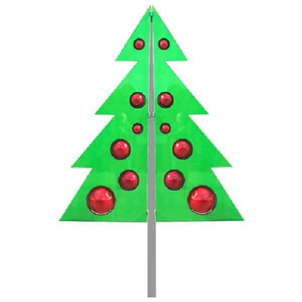 Tree shaped decoration on street pole, green with bauble inset
