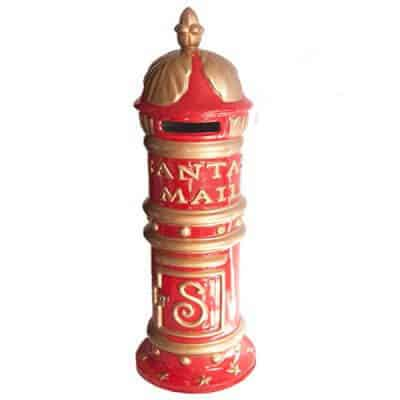 Red and gold Victorian style mailbox