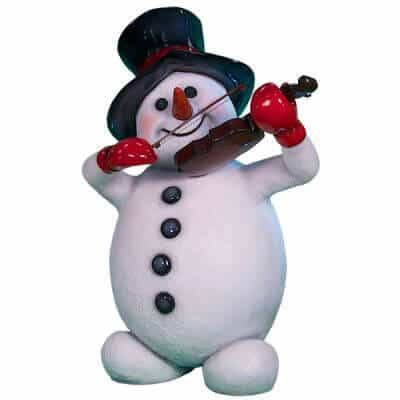Snowman prop playing violin